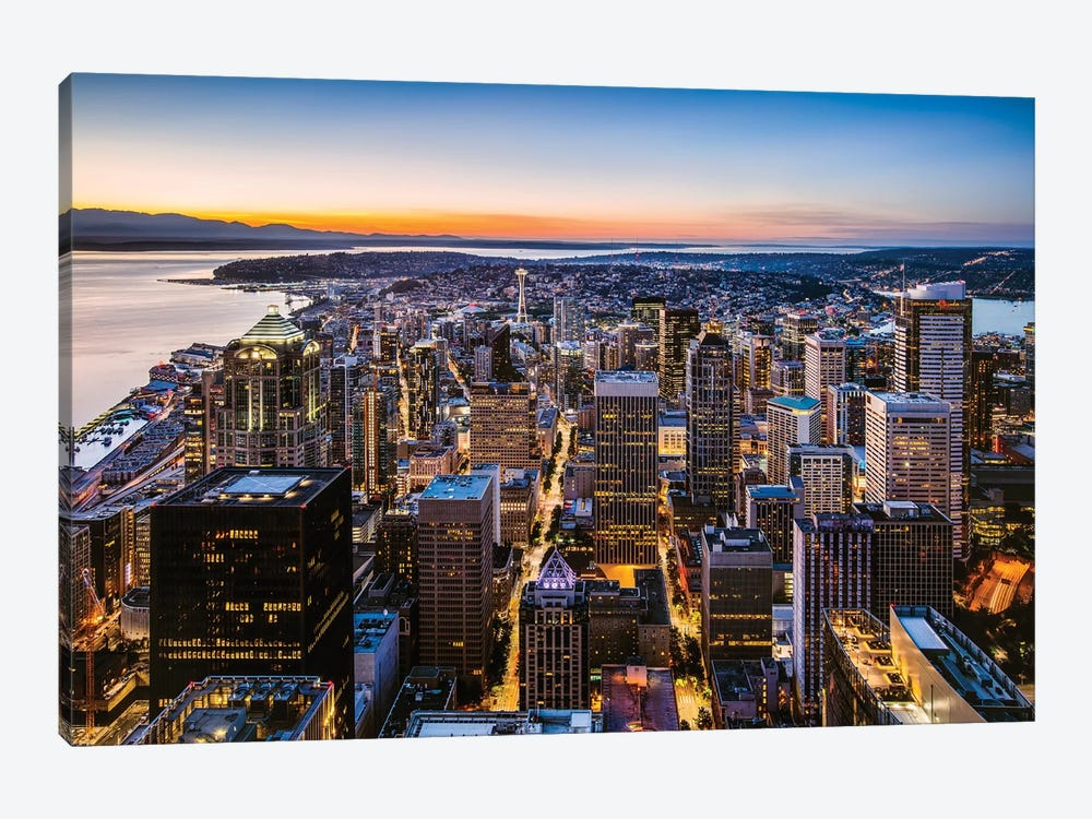 Skyline And Downtown At Dusk, Seattle, USA by Matteo Colombo 1-piece Canvas Art Print
