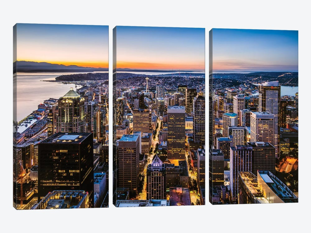Skyline And Downtown At Dusk, Seattle, USA by Matteo Colombo 3-piece Canvas Print