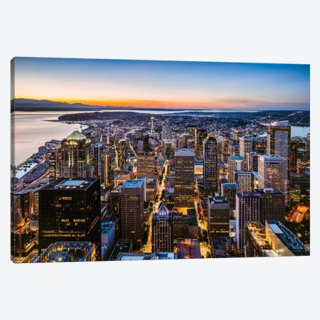 Skyline And Downtown At Dusk, Seattle, USA 3-Piece Canvas #TEO321} by Matteo Colombo Canvas Art Print