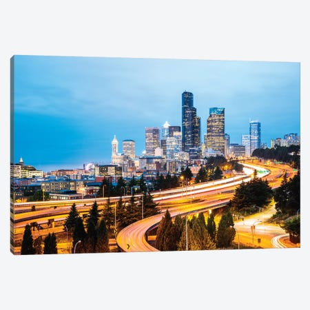 Skyline And Interstate At Dusk, Seattle, USA Canvas Print #TEO322} by Matteo Colombo Canvas Art Print