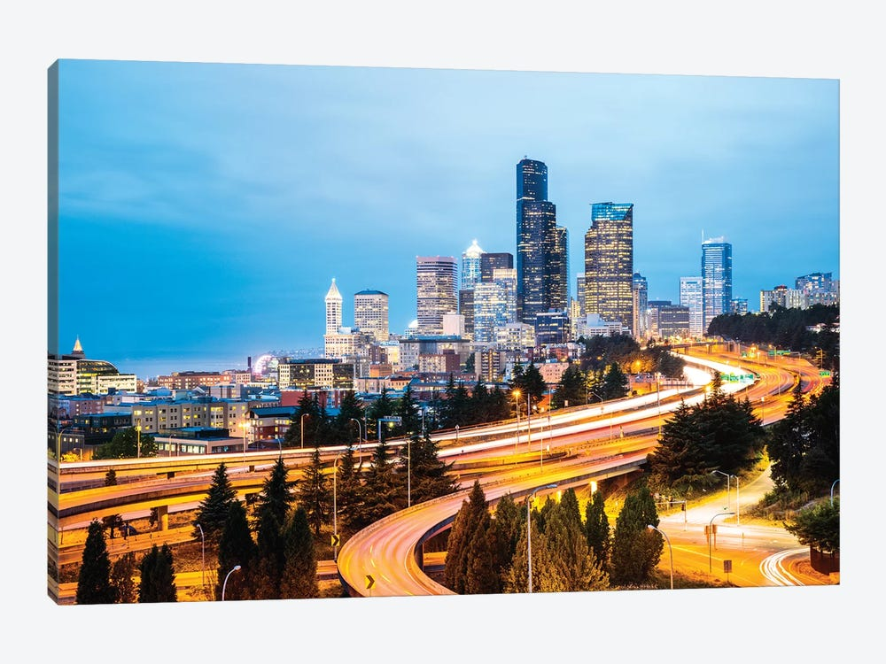Skyline And Interstate At Dusk, Seattle, USA by Matteo Colombo 1-piece Canvas Wall Art