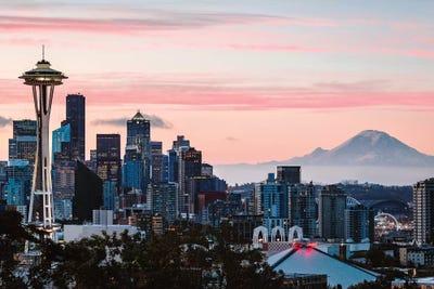 Skyline At Dawn With Mt Rainier Seattle Us Matteo