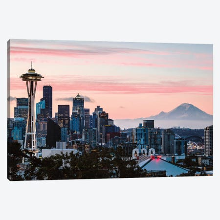 Skyline At Dawn With Mt. Rainier, Seattle, USA Canvas Print #TEO323} by Matteo Colombo Canvas Art Print