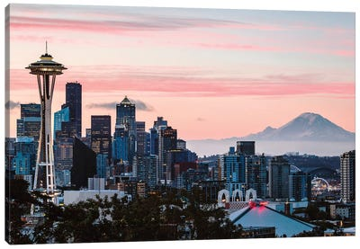 Skyline At Dawn With Mt. Rainier, Seattle, USA Canvas Art Print