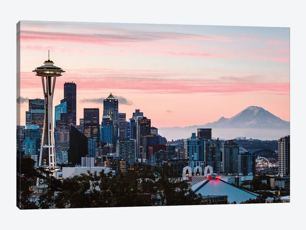 Skyline At Dawn With Mt. Rainier, Seattle, USA by Matteo Colombo 1-piece Art Print
