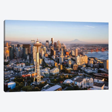 Space Needle And Skyline, Seattle Canvas Print #TEO324} by Matteo Colombo Canvas Wall Art