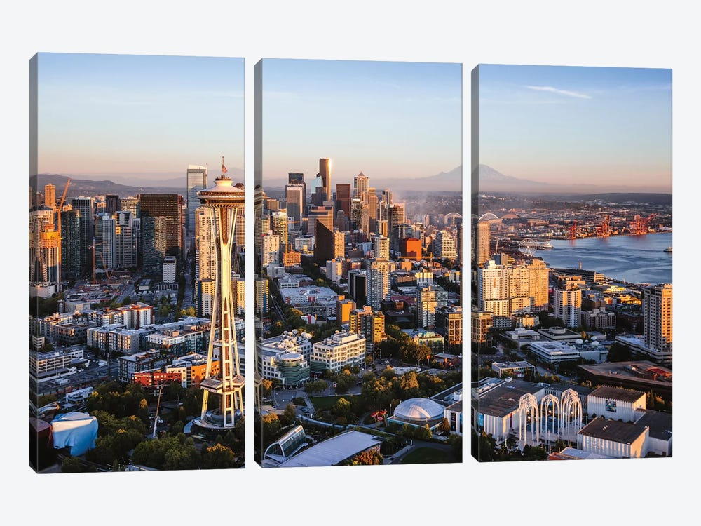 Space Needle And Skyline, Seattle by Matteo Colombo 3-piece Canvas Artwork