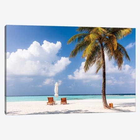 Sunchairs On A Beach In The Maldives Canvas Print #TEO325} by Matteo Colombo Canvas Artwork