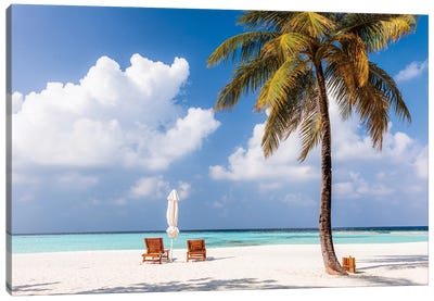 Sunchairs On A Beach In The Maldives Canvas Art Print