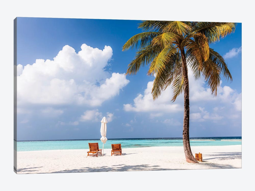 Sunchairs On A Beach In The Maldives by Matteo Colombo 1-piece Canvas Print
