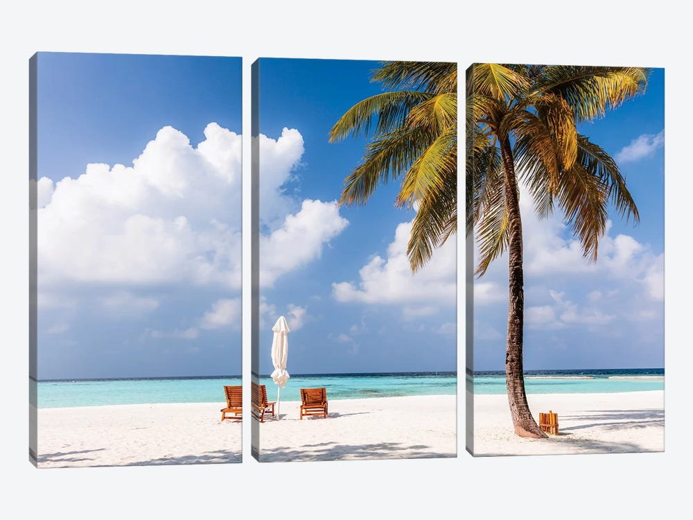 Sunchairs On A Beach In The Maldives 3-piece Canvas Art Print