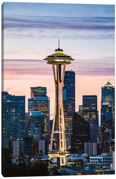 The Space Needle And Skyline At Dawn, Seattle, USA I Canvas Art Print