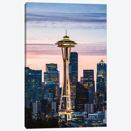 The Space Needle And Skyline At Dawn, Seattle, USA I Canvas Print #TEO326} by Matteo Colombo Canvas Art