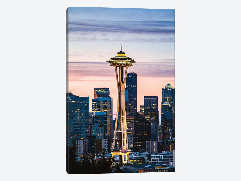 The Space Needle And Skyline At Dawn, Seattle, USA I by Matteo Colombo 1-piece Canvas Artwork