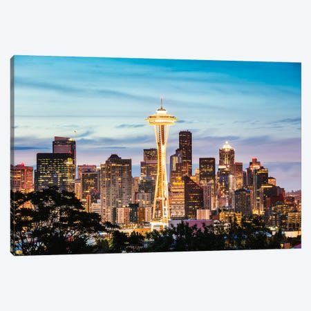 The Space Needle And Skyline At Dawn, Seattle, USA II Canvas Print #TEO327} by Matteo Colombo Canvas Artwork
