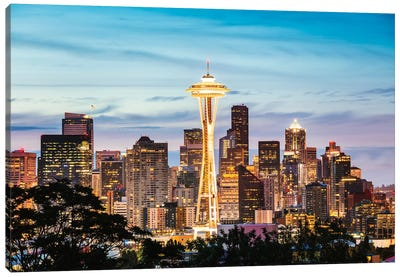The Space Needle And Skyline At Dawn, Seattle, USA II Canvas Art Print