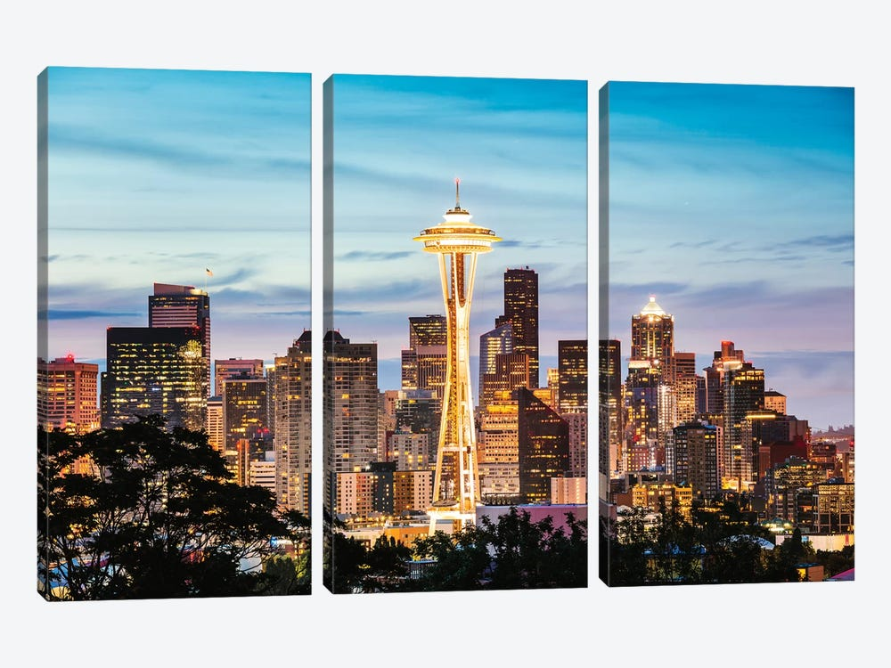 The Space Needle And Skyline At Dawn, Seattle, USA II by Matteo Colombo 3-piece Canvas Print