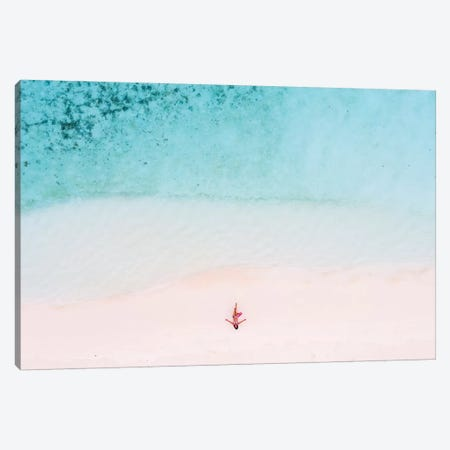 Woman Relaxing On Beach, Maldives Canvas Print #TEO330} by Matteo Colombo Canvas Artwork