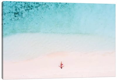 Woman Relaxing On Beach, Maldives Canvas Art Print