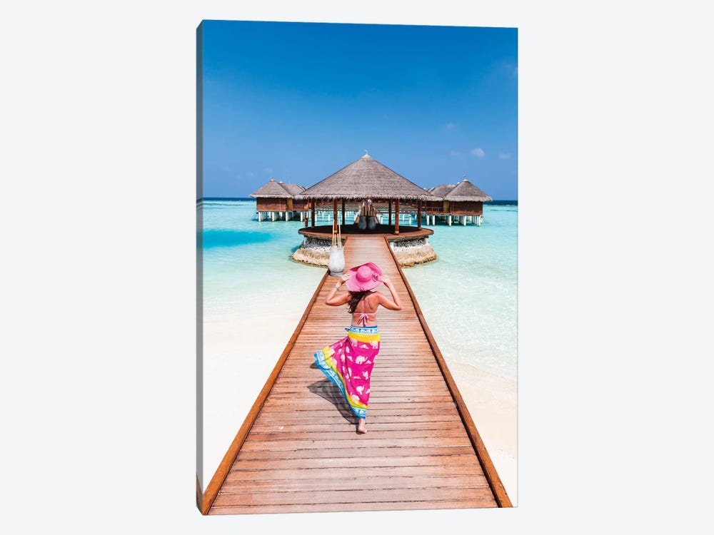 Woman With Sarong Walking On Jetty, Maldives by Matteo Colombo 1-piece Canvas Art