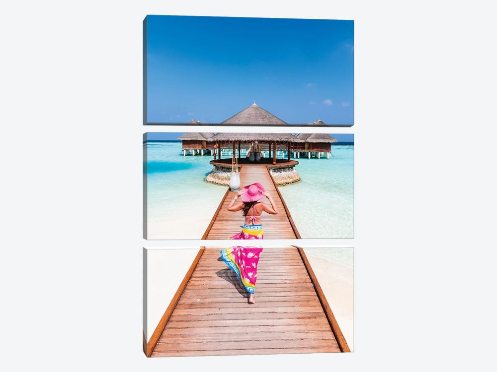 Woman With Sarong Walking On Jetty, Maldives by Matteo Colombo 3-piece Canvas Wall Art