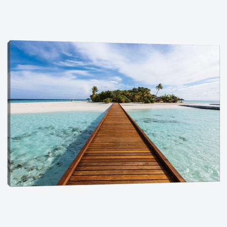 Wooden Jetty To A Tropical Island, Maldives Canvas Print #TEO332} by Matteo Colombo Canvas Artwork