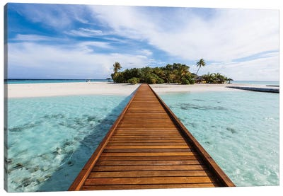Wooden Jetty To A Tropical Island, Maldives Canvas Art Print