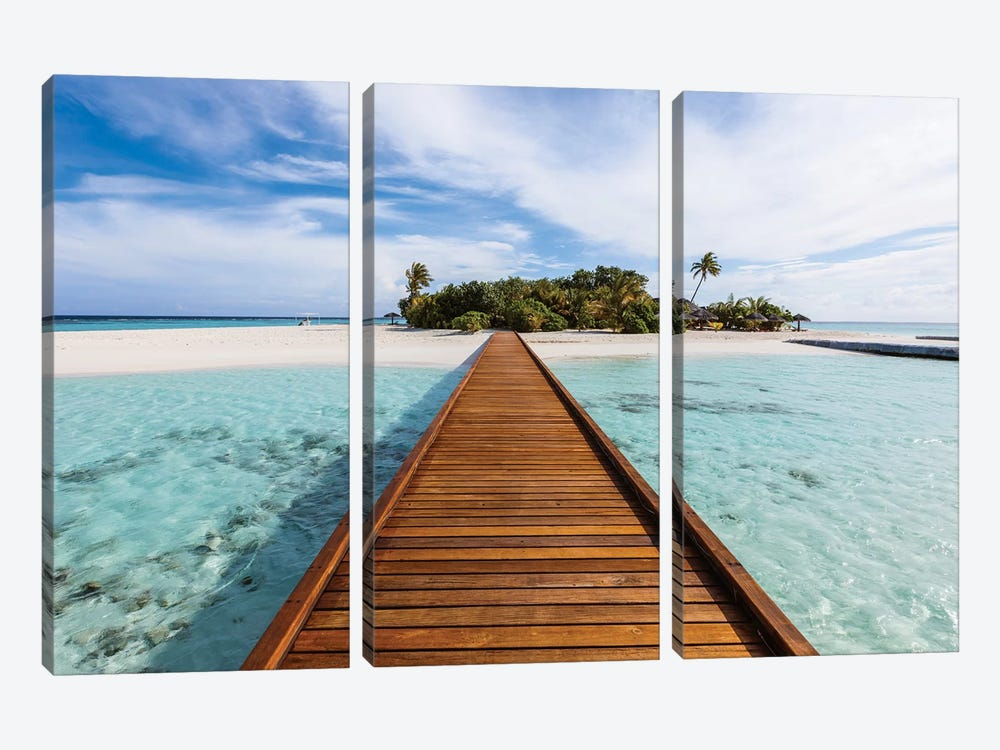 Wooden Jetty To A Tropical Island, Maldives 3-piece Canvas Art Print