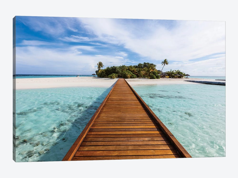 Wooden Jetty To A Tropical Island, Maldives by Matteo Colombo 1-piece Art Print