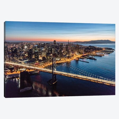Aerial Of Downtown San Francisco At Dusk Canvas Print #TEO333} by Matteo Colombo Canvas Wall Art