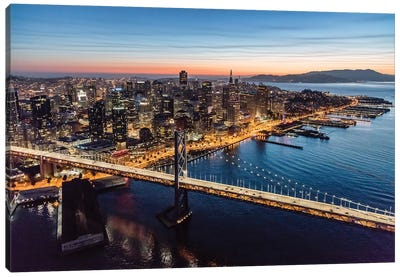 Aerial Of Downtown San Francisco At Dusk Canvas Art Print