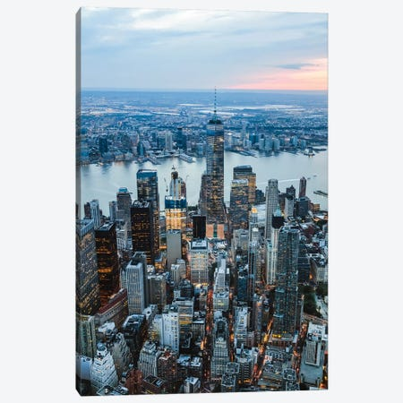 Aerial Of Manhattan At Sunset, New York 3-Piece Canvas #TEO334} by Matteo Colombo Canvas Art Print