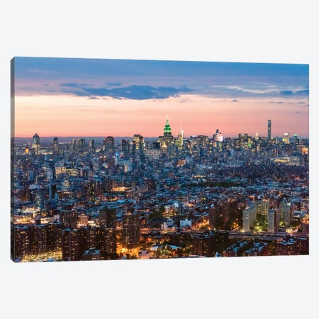 Aerial Of Midtown Manhattan At Dusk Canvas Print #TEO336} by Matteo Colombo Art Print