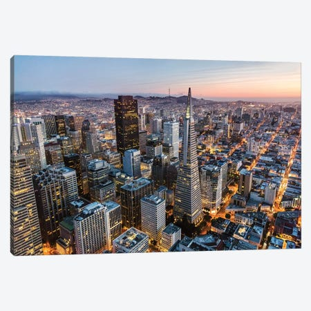 Aerial Of San Francisco At Dusk Canvas Print #TEO338} by Matteo Colombo Canvas Artwork