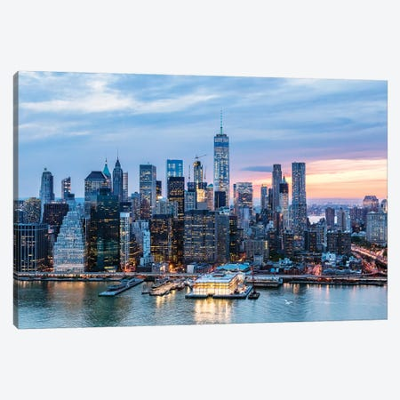 Aerial Of World Trade Center And Manhattan Canvas Print #TEO339} by Matteo Colombo Canvas Art