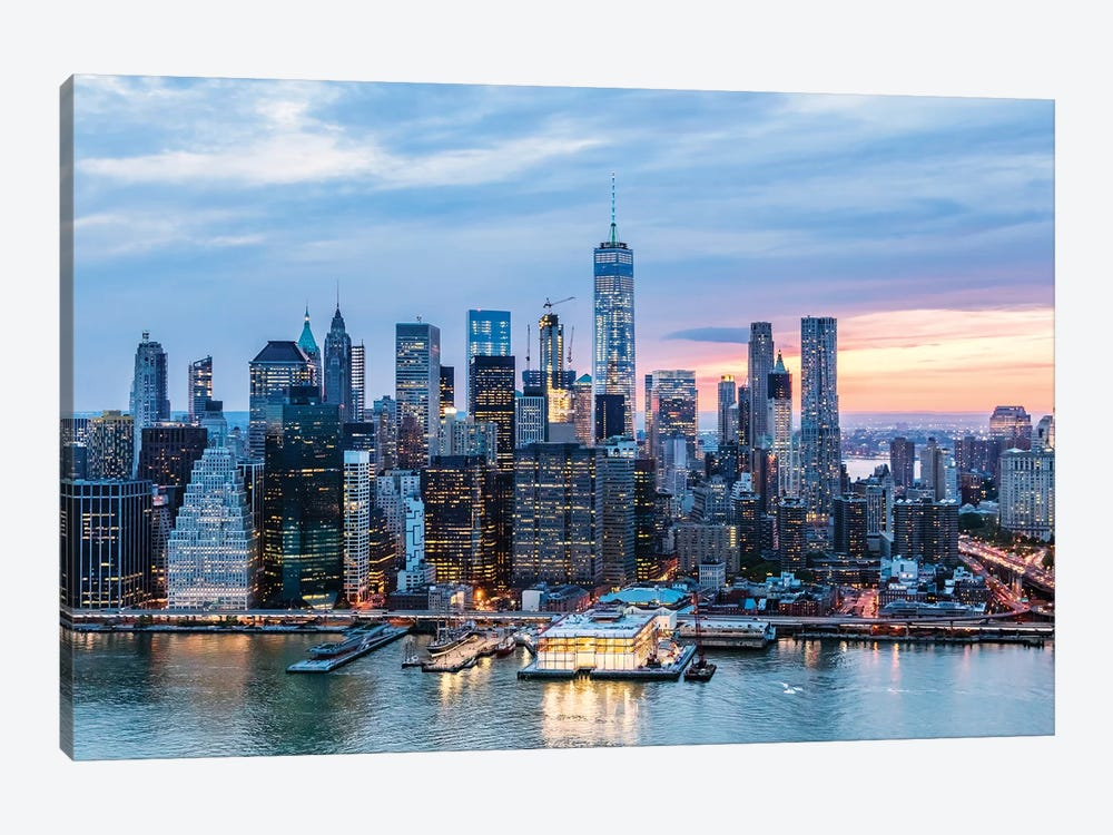 Aerial Of World Trade Center And Manhattan by Matteo Colombo 1-piece Canvas Art