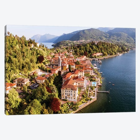 Aerial View Of Bellagio, Lake Como, Italy Canvas Print #TEO340} by Matteo Colombo Canvas Print