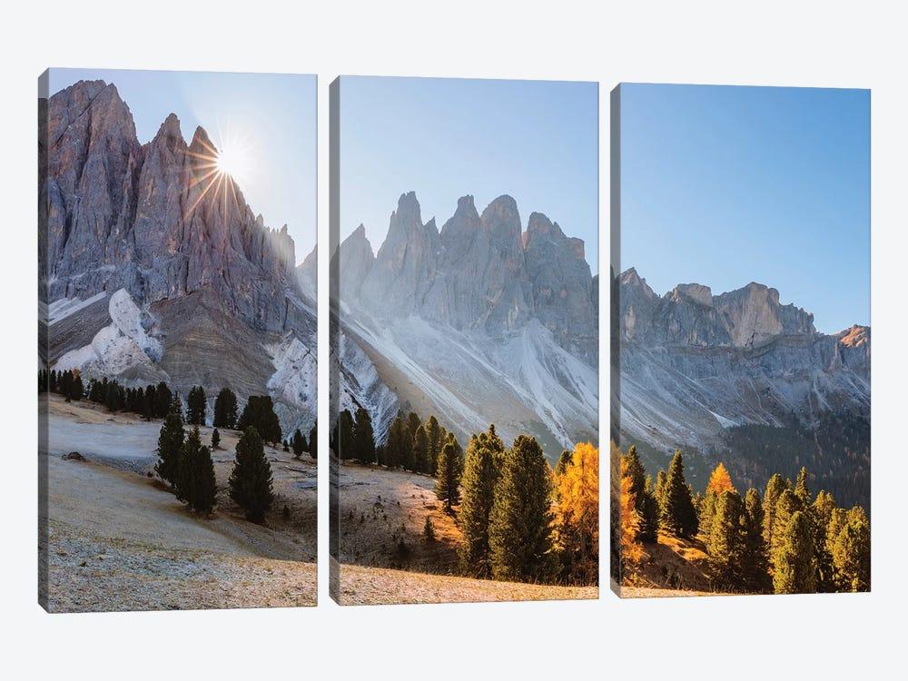 Alpine Peaks In Autumn, Italy by Matteo Colombo 3-piece Canvas Art Print