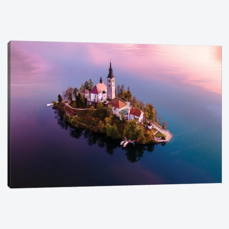 Bled Island At Sunrise, Slovenia Canvas Print #TEO352} by Matteo Colombo Canvas Artwork