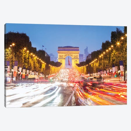Champs Elysees At Night, Paris Canvas Print #TEO355} by Matteo Colombo Canvas Print