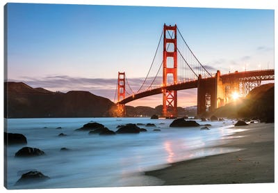 Dawn At The Golden Gate Canvas Art Print