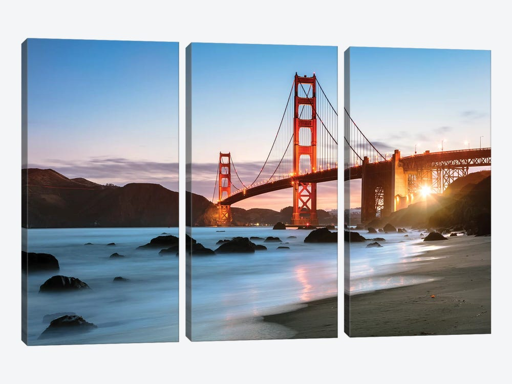 Dawn At The Golden Gate by Matteo Colombo 3-piece Canvas Artwork