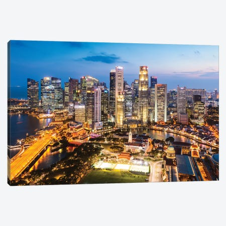 Downtown Singapore At Sunset 3-Piece Canvas #TEO368} by Matteo Colombo Art Print