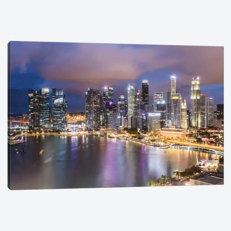 Financial District At Dusk, Singapore Canvas Print #TEO371} by Matteo Colombo Canvas Art