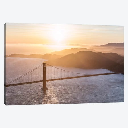 Golden Gate Bridge At Sunset Canvas Print #TEO373} by Matteo Colombo Canvas Art