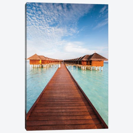 Jetty And Bungalows, Maldives Canvas Print #TEO378} by Matteo Colombo Canvas Artwork