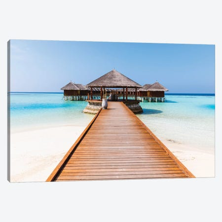 Jetty On A Tropical Island, Maldives Canvas Print #TEO379} by Matteo Colombo Canvas Art