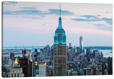 Empire State Building At Dusk, Midtown, New York City, New York, USA Canvas Print #TEO37