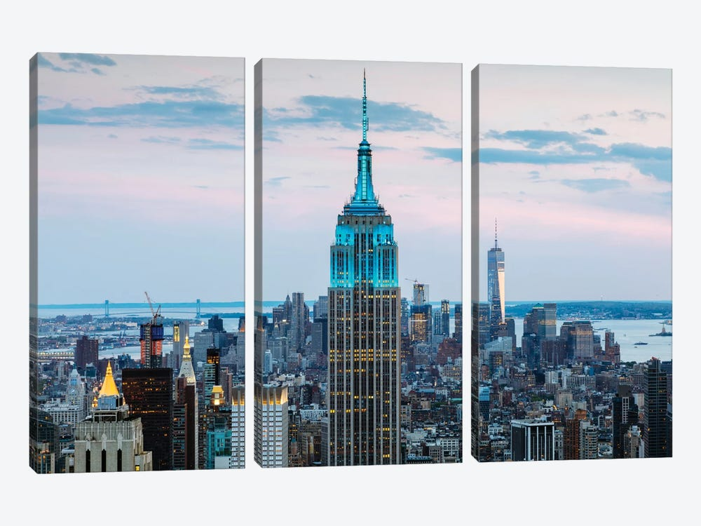 Empire State Building At Dusk, Midtown, New York City, New York, USA by Matteo Colombo 3-piece Canvas Art