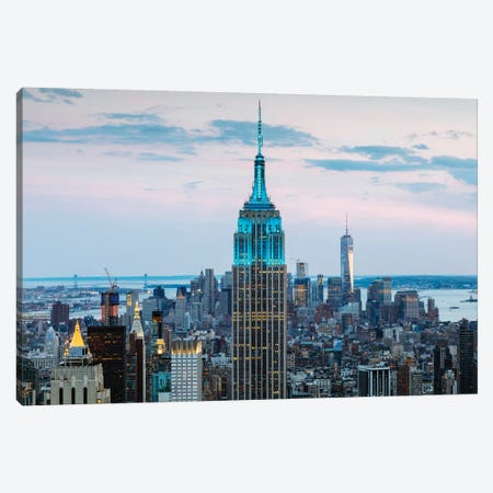 Empire State Building At Dusk, Midtown, New York City, New York, USA 3-Piece Canvas #TEO37} by Matteo Colombo Canvas Art